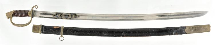 Engraved Russian Calvary Sword with Scabbard