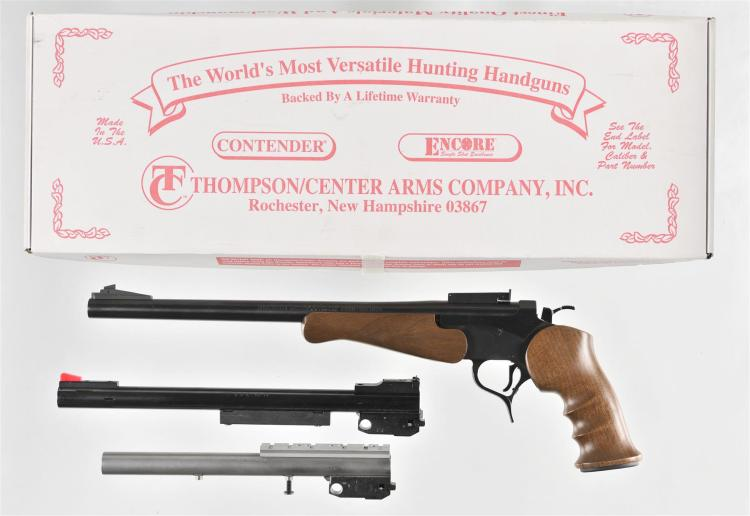 Thompson Center Arms Model Encore Single Shot Pistol with Matching Box and Extra Barrels