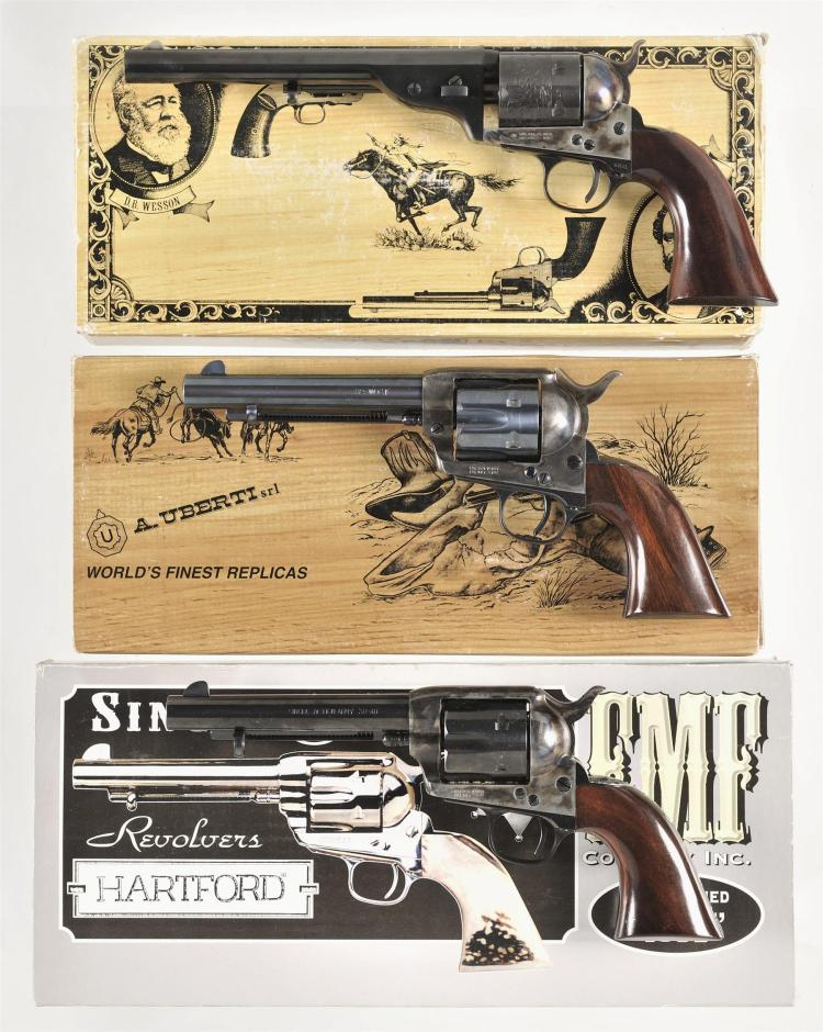 Three Boxed Reproduction Single Action Revolvers -A) Uberti Open Top Army Revolver with Manual