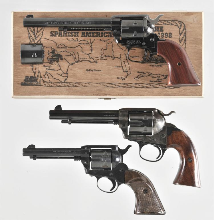 Three Single Action Revolvers -A) Heritage Rough Rider Revolver with Wood Case and Extra Cylinder