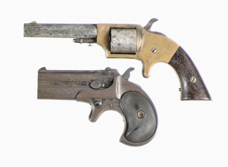 Two Handguns -A) Merwin & Bray Spur Trigger Pocket Revolver