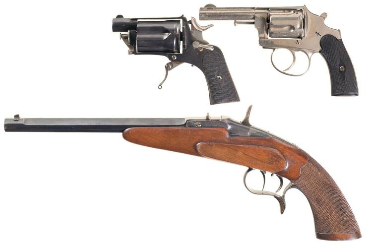Three Handguns -A) Belgian D. D. Oury Marked Double Action Revolver