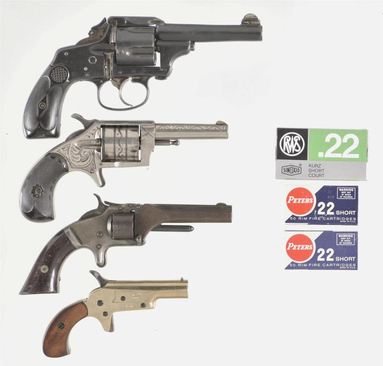 Three Revolvers and One Derringer -A) Unmarked Merwin & Hulbert Style Pocket Medium Frame Double Action Revolver with Folding Hammer Spur