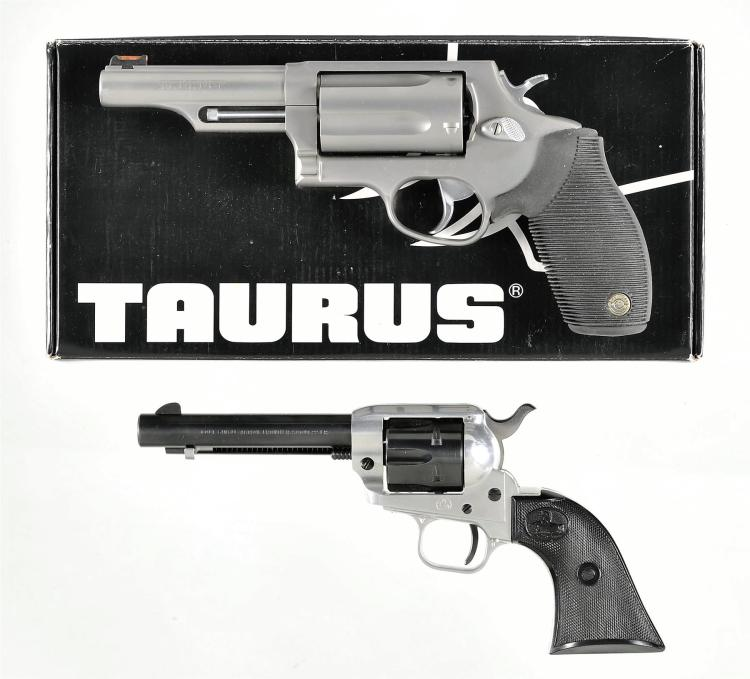 Two Revolvers -A) Taurus The Judge Double Action Revolver with Matching Box and Accessories
