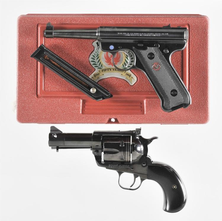 Two Hand Guns -A) Ruger 50th Anniversary Mark II Semi-Automatic Pistol with Matching Case and Extra Magazine