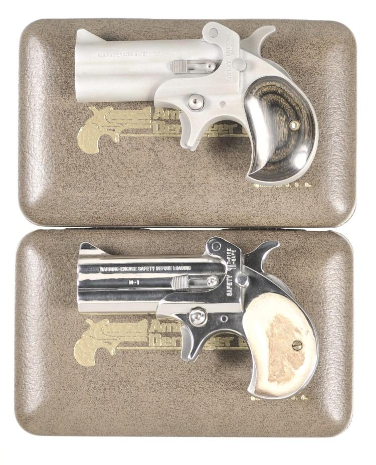 Two Over/Under Derringers -A) American Derringer Model 7 Derringer with Box
