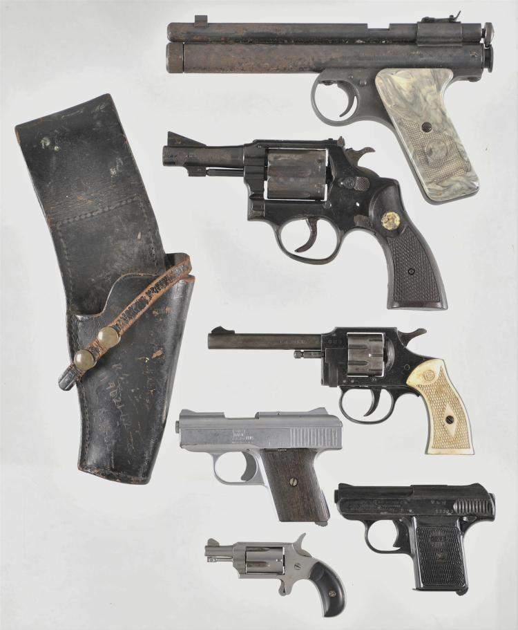 Six Assorted Hand Guns -A) Benjamin 22 Rocket Pellet Pistol