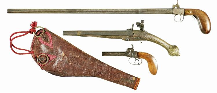 Three Antique Firearms -A) St. Etienne Marked Single Shot Percussion Pistol