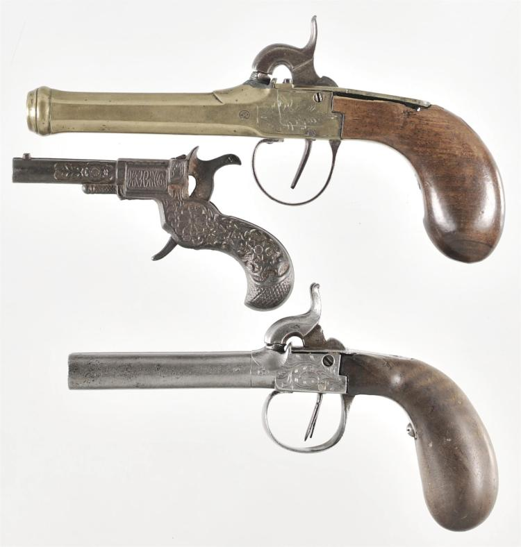 Two European Percussion Pistols and Toy Cap Pistol -A) Belgian Brass Framed Single Shot Percussion Pistol