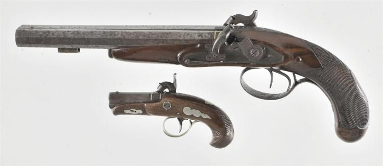 Two Percussion Pistols -A) German Double Barrel Pistol