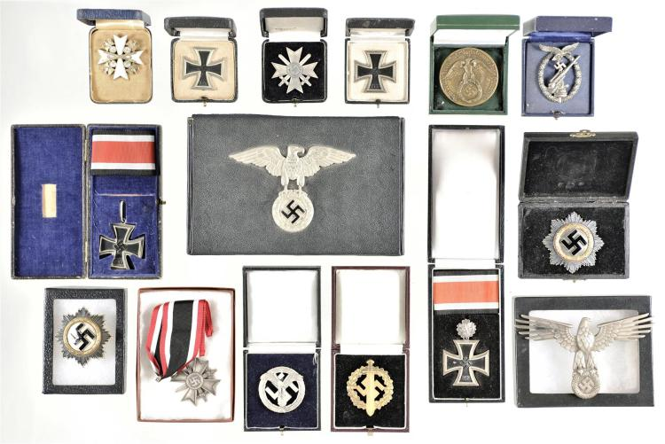 Nazi-Marked Cigar Box and 14 Pins and Medals