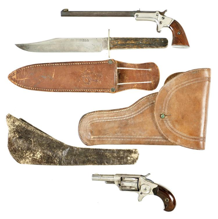 One Pistol and One Revolver -A) Stevens Single Shot Tip Up Pistol with Two Holsters and a Knife