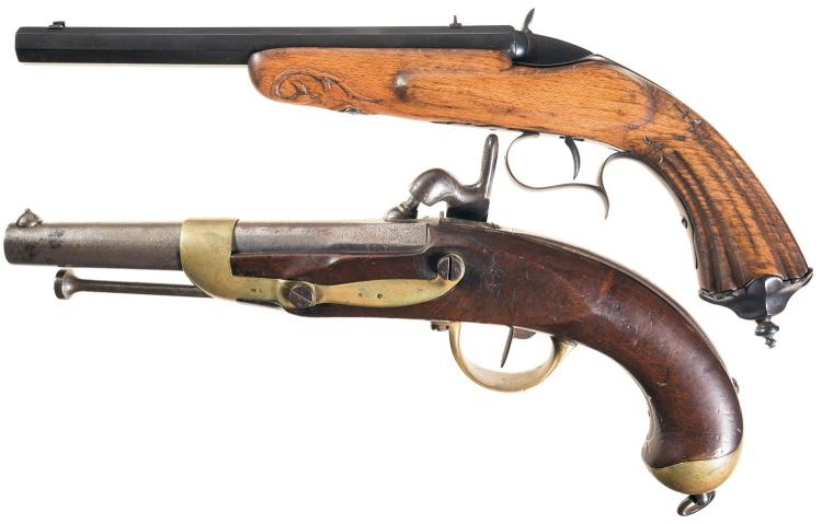 Two European Single Shot Pistols -A) Flobert Style Parlor Pistol