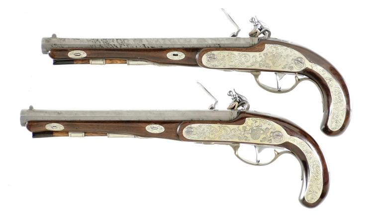 Cased Pair of Flintlock Pistols -A) Modern Reproduction of Wogdon Flintlock Pistol By R Strosin with Accessories