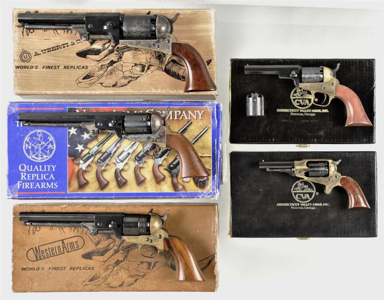 Five Boxed  Italian Reproduction Percussion Revolvers -A) Uberti 1851 Dragoon Percussion Revolver