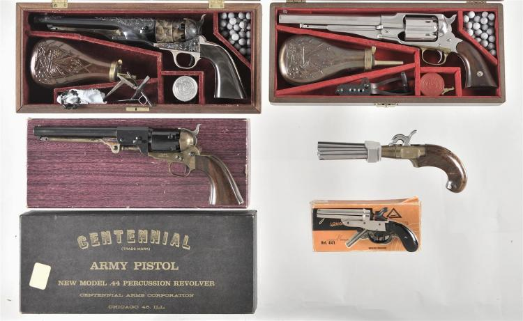 Five Percussion Hand Guns -A) Belgian Model 1960 New Army Revolver with Case and Accessories