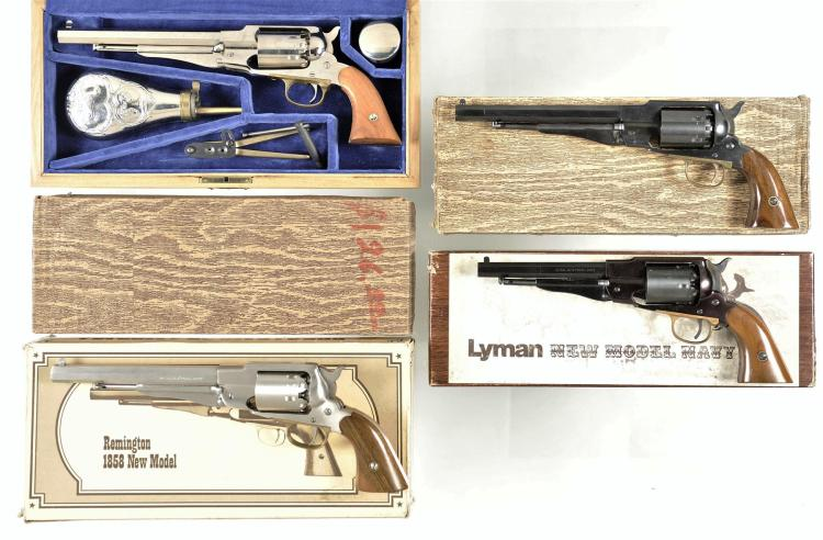 Four Boxed Italian Reproduction Percussion Revolvers -A) Cased Navy Arms Reproduction Remington Army Revolver with Accessories