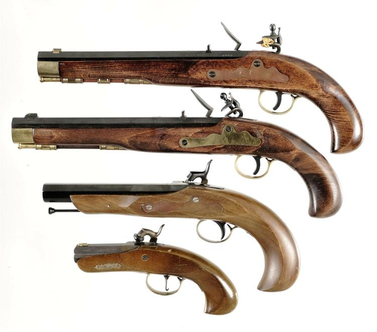 Four Contemporary Black Powder Pistols -A) Japanese Miroku Model 7109-A Flintlock Pistol with Box