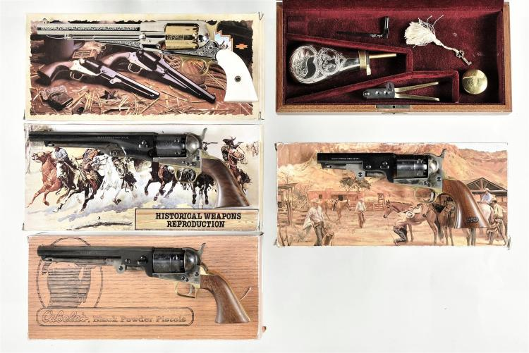 Four Italian Reproduction Percussion Revolvers -A) F. LLI Pietta Model 1858 New Army Revolver with Matching Box