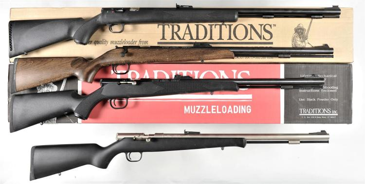 Four Muzzle Loading Rifles -A) Thompson Center Arms Model Black Diamond Rifle