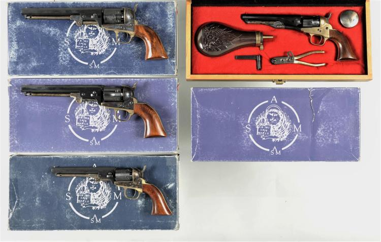 Four Italian Reproduction Percussion Revolvers with Matching Boxes -A) Armi San Marco 1851 Navy 3rd Model Revolver