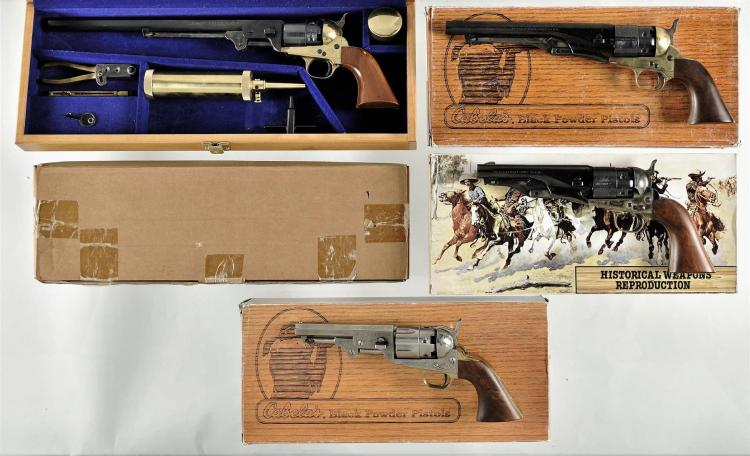 Four Italian Reproduction Revolvers -A) Dixie Gun Works Model 1851 Navy Percussion Revolver with Wood Case and Accessories