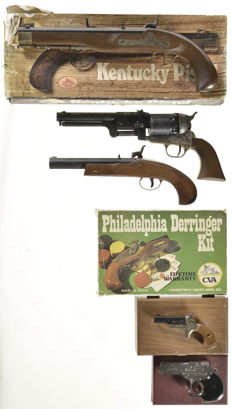 Six Handguns -A) Connecticut Valley Arms Kentucky Percussion Pistol with Box
