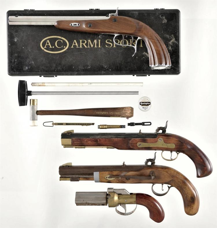 Four Percussion Pistols -A) Armi Sport Pistol with Case and Accessories.