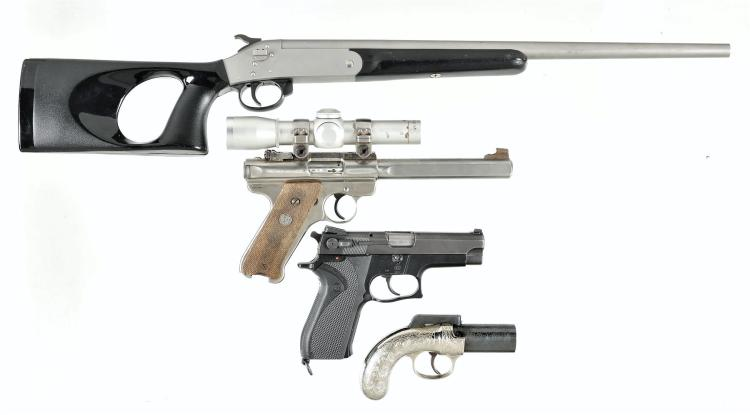One Long Gun and Three Hand Guns -A) Sporting Arms Snake Charmer II Single Shot Shotgun