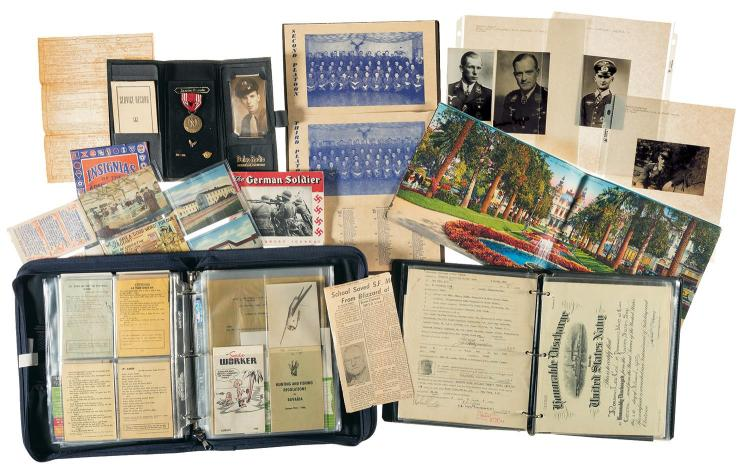 Grouping of World War II Postcards, Service Records and Photographs