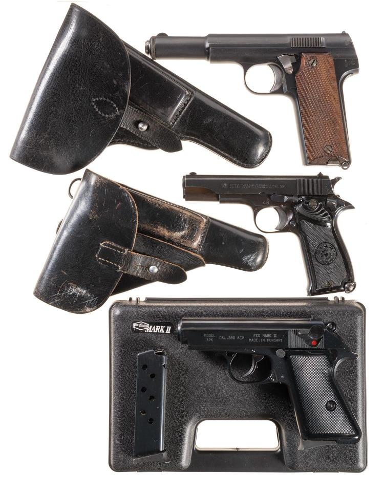 Three Semi-Automatic Pistols -A) Astra Model 600/43 Pistol with Holster