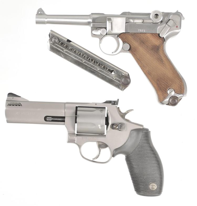 Two Handguns -A) Mitchell Arms American Eagle P-08 Luger Semi-Automatic Pistol with Extra Magazine