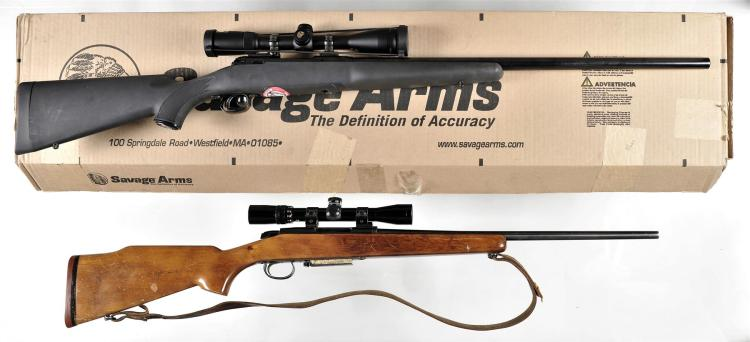 Two Bolt Action Rifles -A) Savage Arms Model 12FLV Rifle with Matching Box and Scope