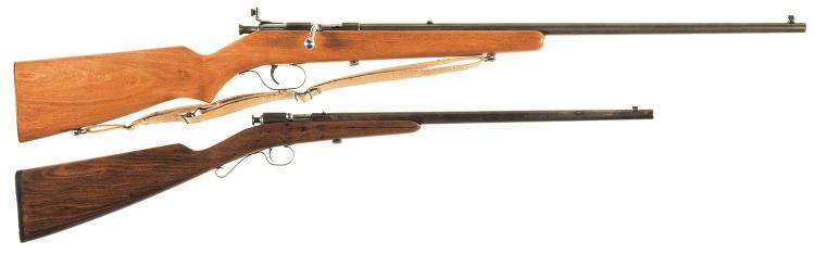 Two Bolt Action Single Shot Rifles -A) Marlin Model 100-S Tom Mix Special Rifle