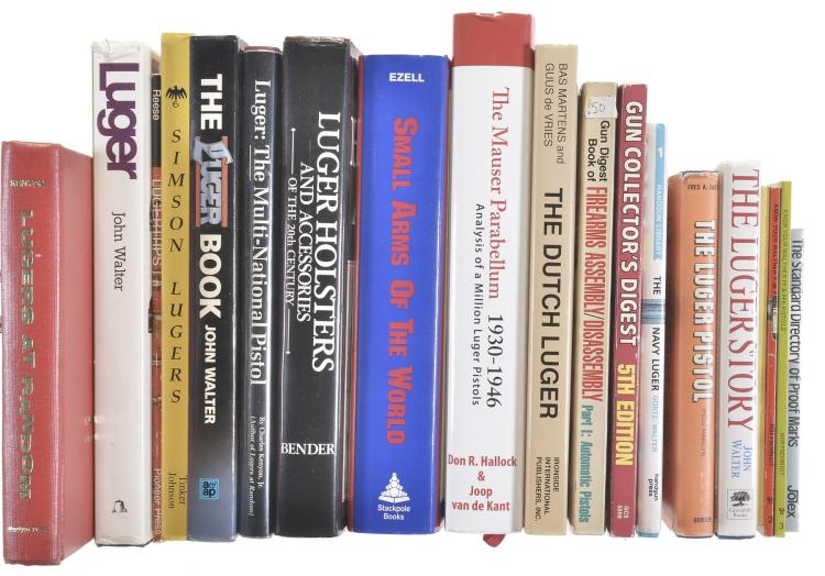 Nineteen Luger Handgun and Assorted Books