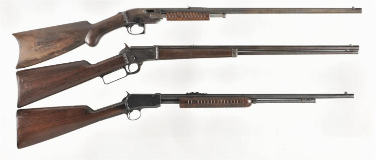 Three Rifles -A) Savage Arms Model 1903 Slide Action Rifle