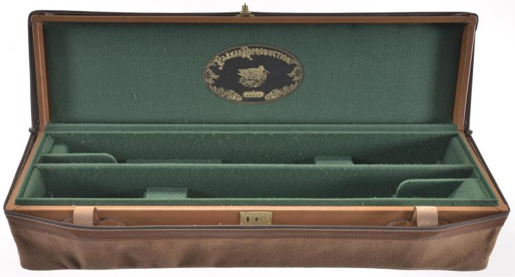 Winchester Parker Reproduction Leather Two Gun Takedown Case with Canvas Cover