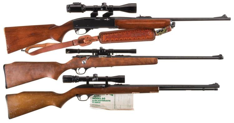 Three Sporting Rifles with Scopes -A) Remington Model 740 Woodsmaster Semi-Automatic Rifle