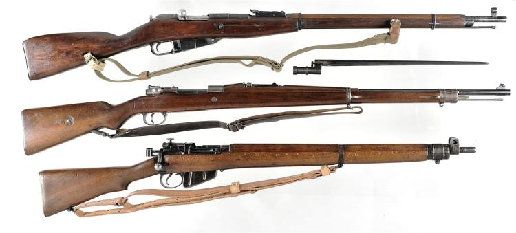 Three Bolt Action Rifles -A) Mosin Nagant M91/30 with Bayonet and Sling