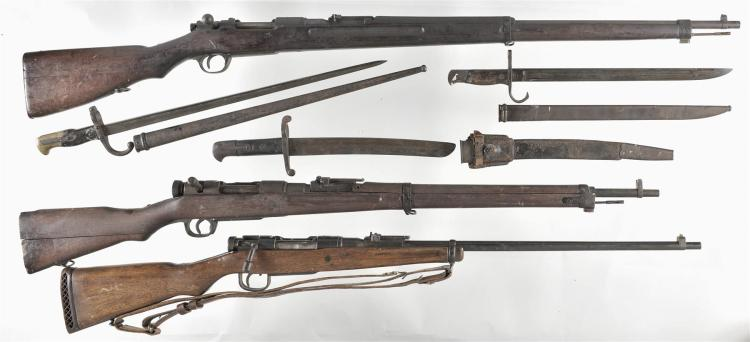 Three Japanese Bolt Action Rifles -A) Arisaka Type 30 Hook Safety Rifle with Three Bayonets