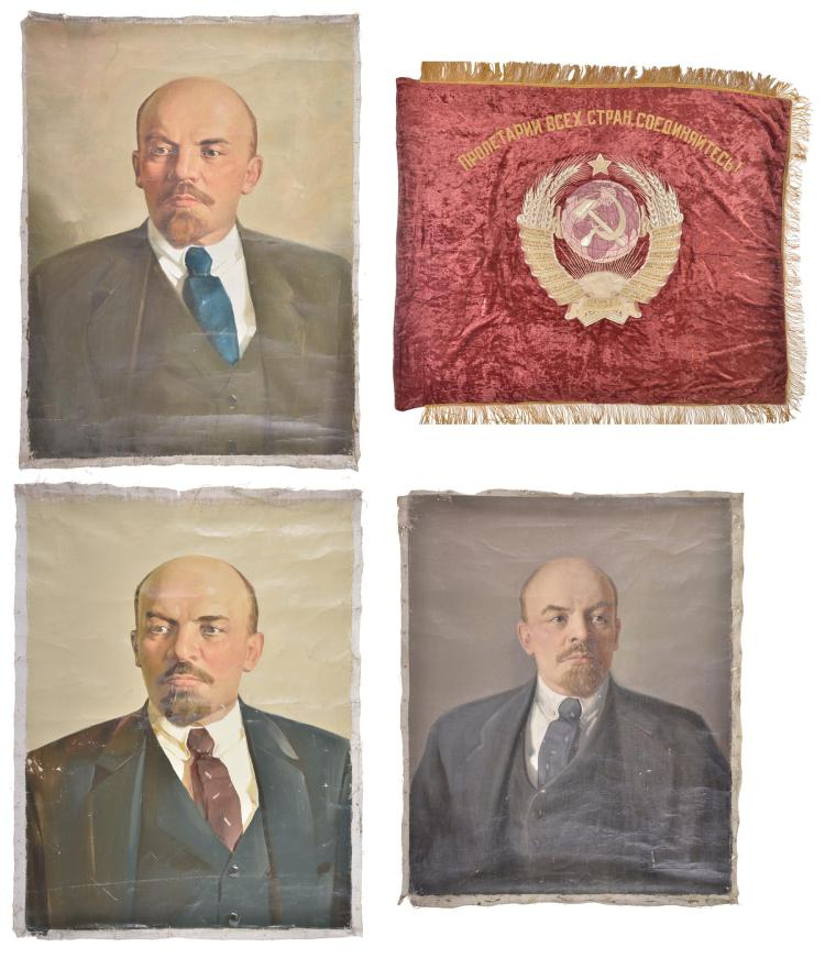 Russian Flag and Three Paintings of Lenin