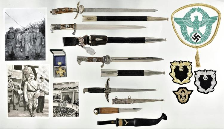 Group of Five Edged Weapons and Nazi Related Memorabilia