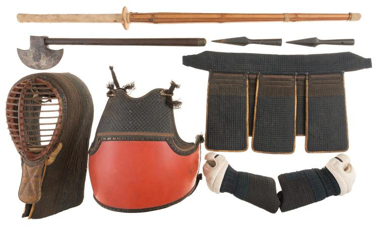 Japanese Kendogu Set with Shinai, Lances, and Edged Weapons