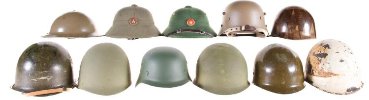 Group of Eleven Military Style Helmets and Liners