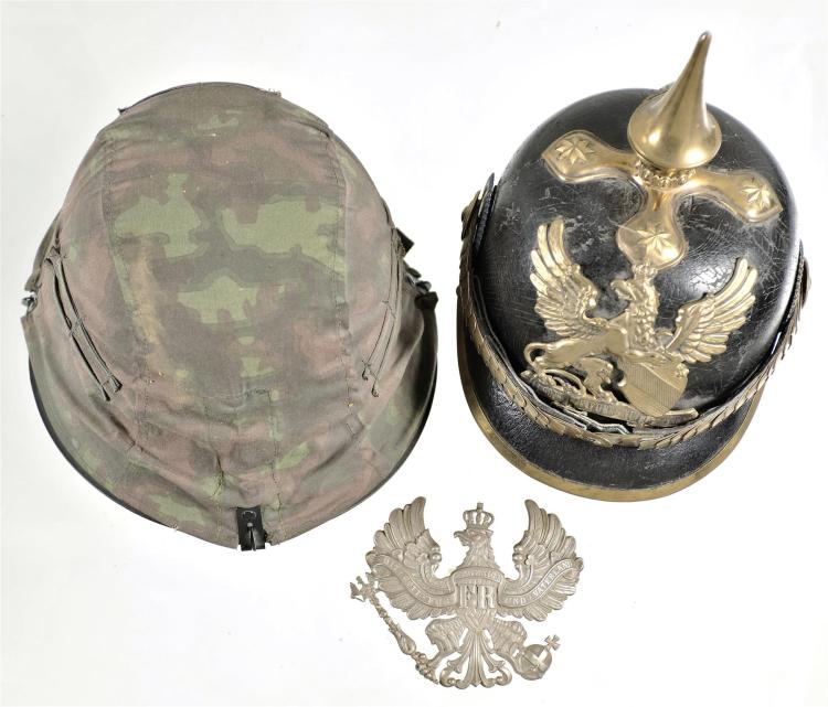 One German Pickelhaub Helmet and One Military Style Helmet