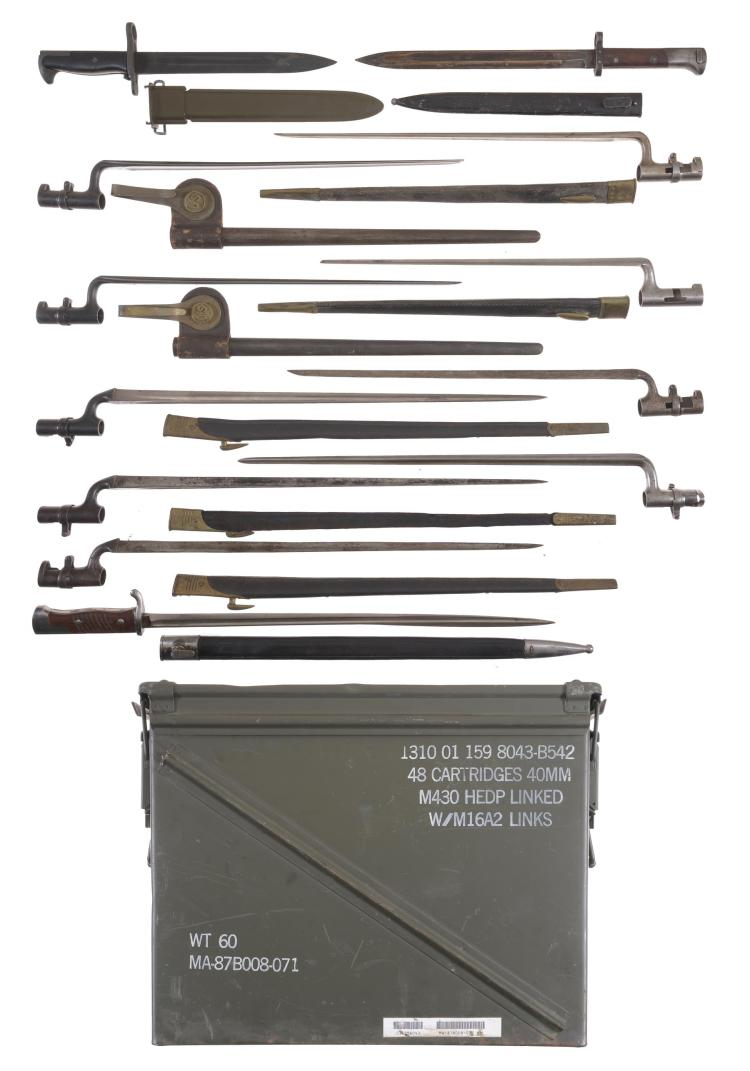 Ammunition Box with Twelve Assorted Bayonets