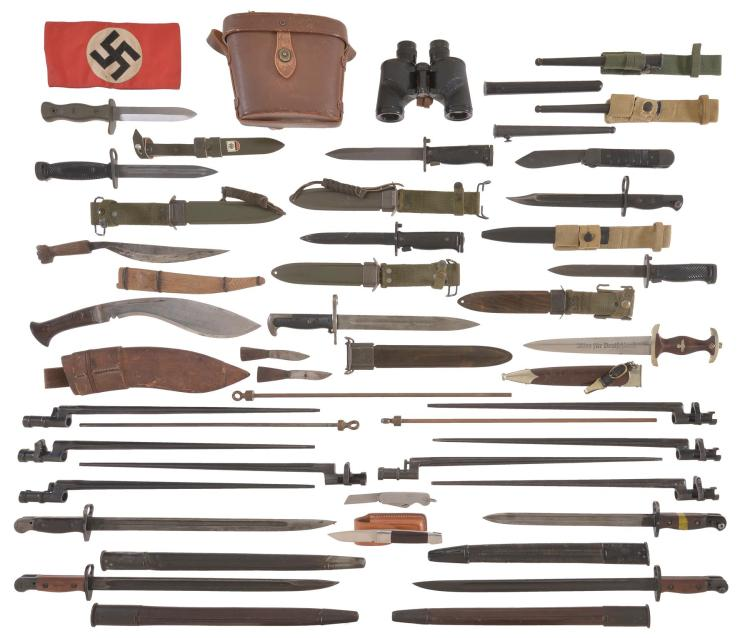 Binoculars with Assorted Bayonets and Knives