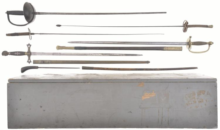 Group of Six Assorted Swords with Wood Case