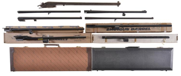 Folsom/Rickard Arms Company Side by Side Shotgun Barrel/Receiver with Two Hard cases and Eight Assorted Barrels