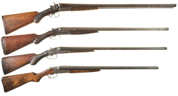 Four Double Barrel Shotguns -A) W. Richards Back Action Hammer Shotgun